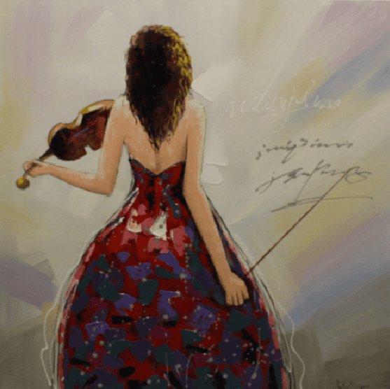 Figuratieve Schilderijen: Vrouw Viool Schilderij