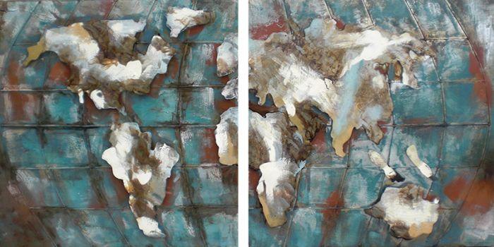3D schilderijen: Twee luik metaal schilderij wereldkaart 180x90