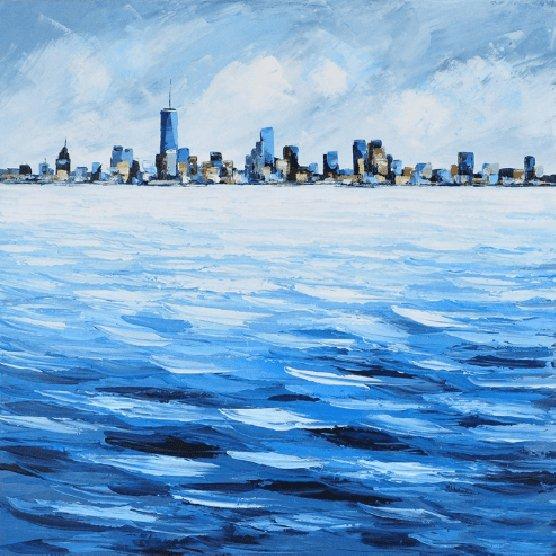 Landschappen Schilderijen: Blauwe Stad Schilderij