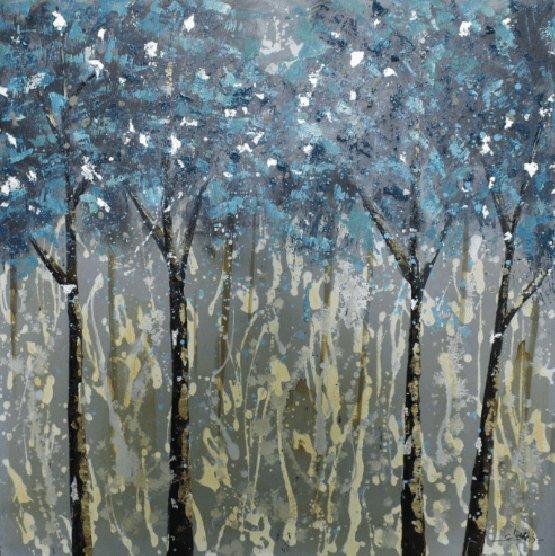 Landschappen Schilderijen: Bosrijk Blauwe Abstracte Kunst