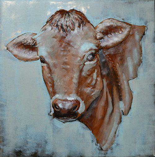 3D schilderijen: 3D Metaal schilderij bruin rode koe 80x80