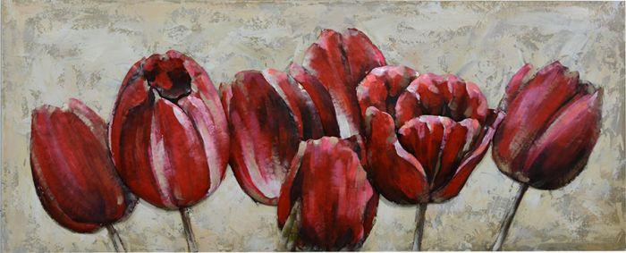 3D schilderijen: 3D Metaal schilderij rode tulpen 150x60