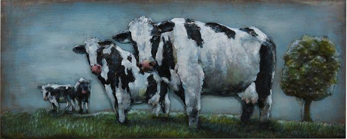 3D schilderijen: 3D Metaal schilderij weide koeien 150x60