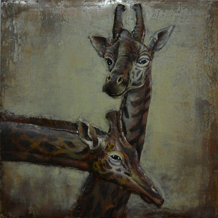 3D schilderijen: 3D Metaal Schilderij Twee Giraffen