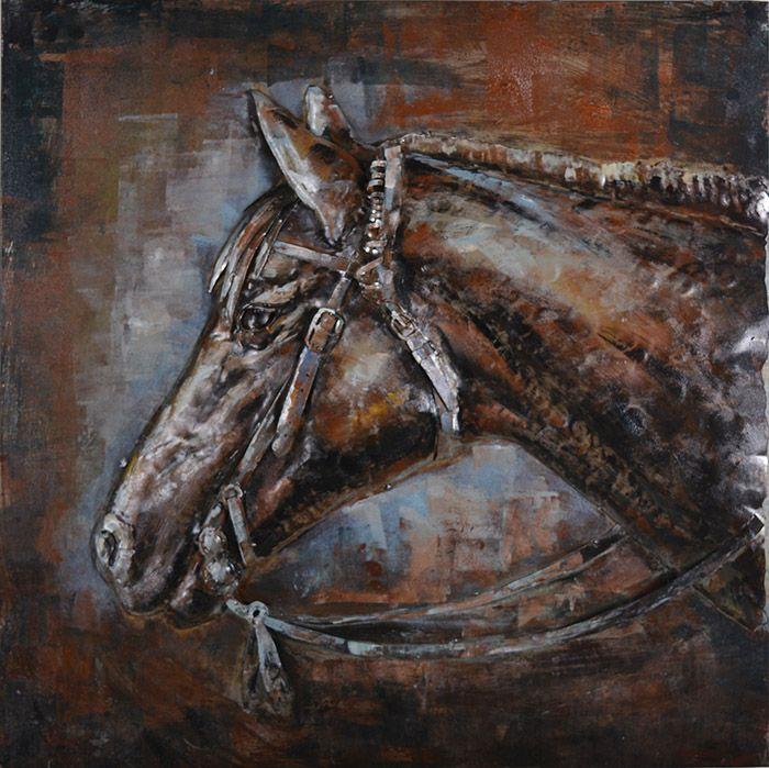 3D schilderijen: 3D Metaal Schilderij Paard