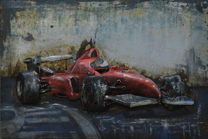 3D schilderijen: 3D Metaal Schilderij Rode Formule 1 Bolide