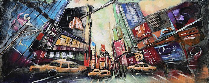 3D schilderijen: 3D Metaal Schilderij New York Times Square