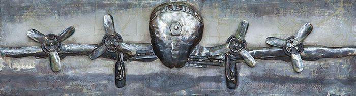 3D schilderijen: 3D Metaal Schilderij Zilver Vliegtuig