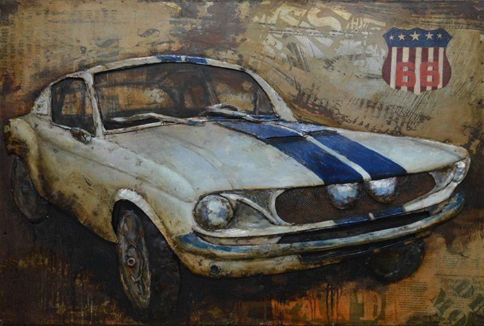 3D schilderijen: 3D Metaal Schilderij Ford Mustang