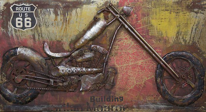 3D schilderijen: 3D Metaal Schilderij Route 66 Harley Davidson