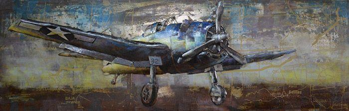 3D schilderijen: 3D Metaal Schilderij Amerikaans Vliegtuig