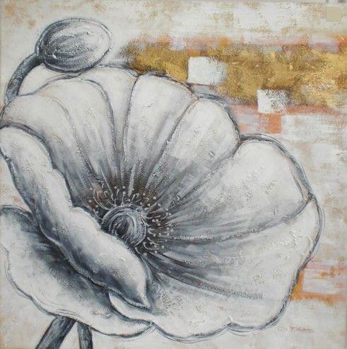 Bloemen Schilderijen: Close up Witte Klaproos Schilderij