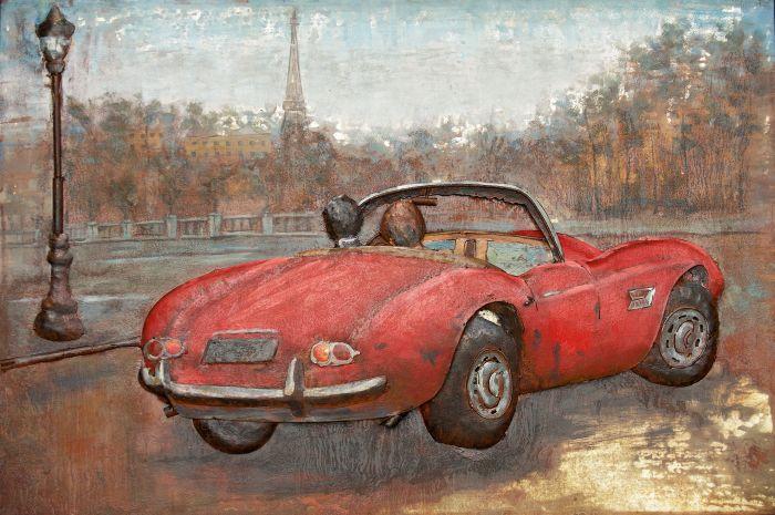 3D schilderijen: 3D schilderij rode auto met toren