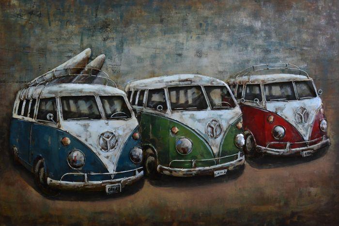 3D schilderijen: 3D schilderij bussen VW op een rij
