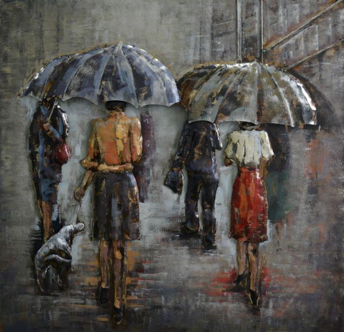 3D schilderijen: 3D schilderij mensen op de boulevard onder paraplu
