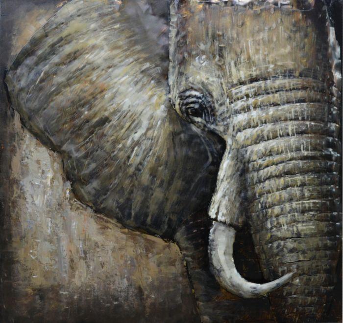 3D schilderijen: 3D schilderij olifant op metaal