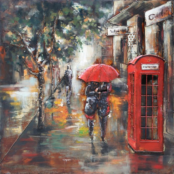 3D schilderijen: 3D schilderij romantisch stel onder paraplu