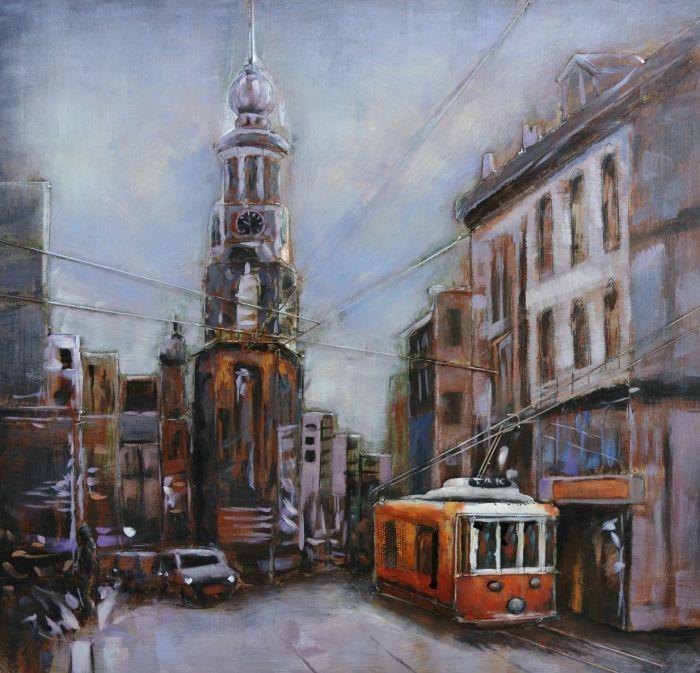 3D schilderijen: 3D schilderij tram en toren in stad