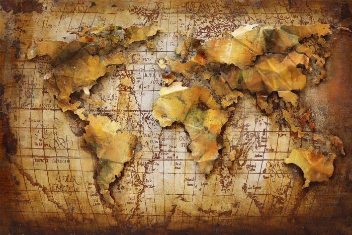 3D schilderijen: Schilderij 3D wereldkaart