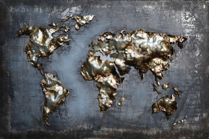 3D schilderijen: 3D schilderij moderen wereldkaart