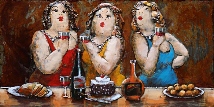 3D schilderijen: Metaal 3D Schilderij Drie Kleurrijke Drinkende Dames 120x80