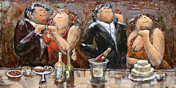 3D schilderijen: Metaal 3D Schilderij Vier Kleurrijke Drinkende Dames en Heren 120x80