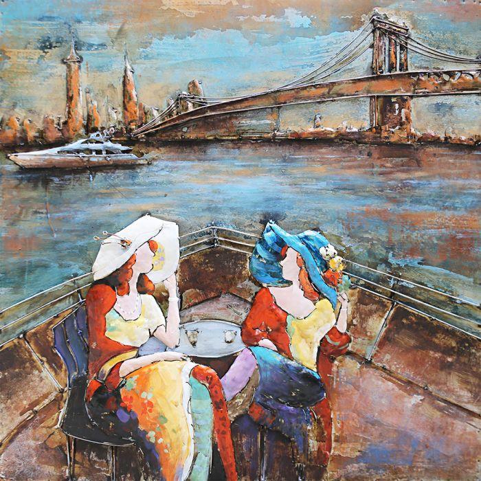 3D schilderijen: Schilderij Kleurrijke Varende Dames 100x100