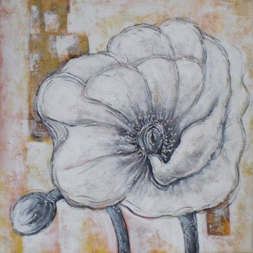 Bloemen Schilderijen: Witte Klaproos Schilderij