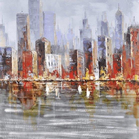 Landschappen Schilderijen: Stads Grens Waterkant Kunst
