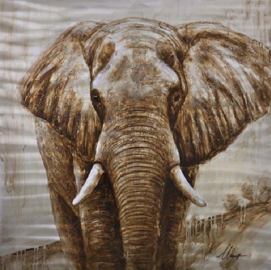 Dieren Schilderijen: Bruine Olifant Schilderij
