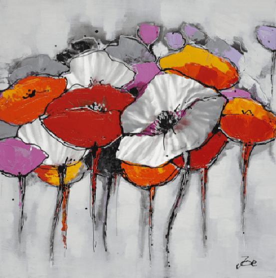 Bloemen Schilderijen: Kleurrijke Klaprozen Kunst