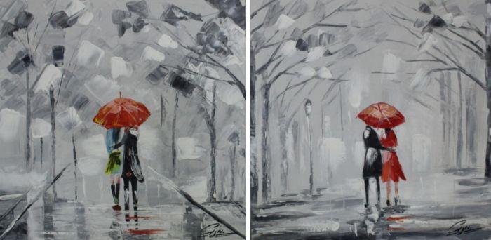 Liefde Schilderijen: Park Wandeling Schilderij