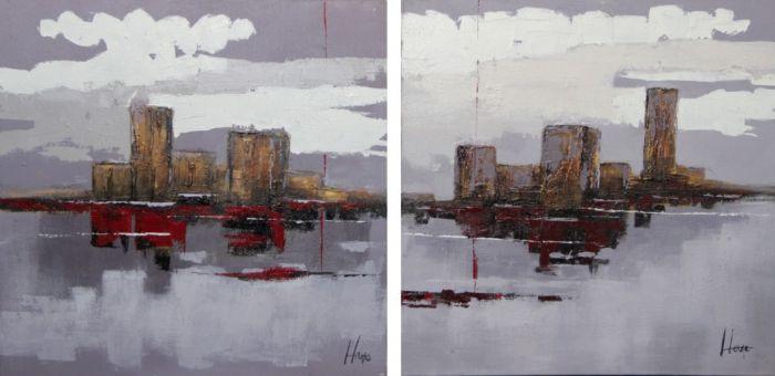 Abstracte Schilderijen: Stadsgrens Schilderij