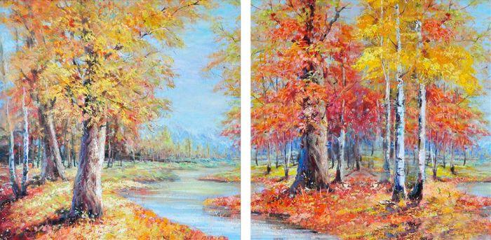 Landschappen Schilderijen: Bosrijk Landschap Schilderij