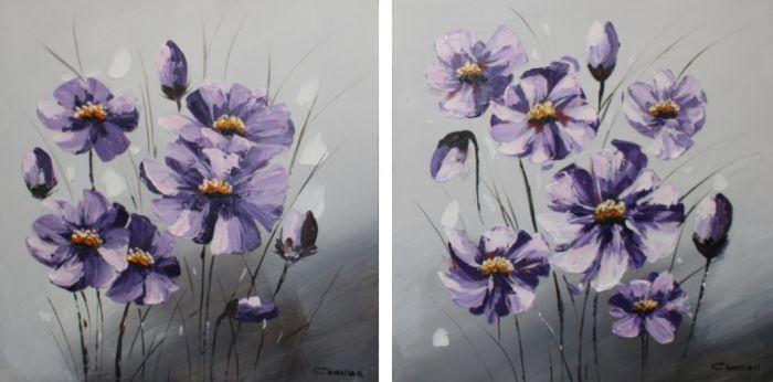 Bloemen Schilderijen: Paarse Bloemen Kunst