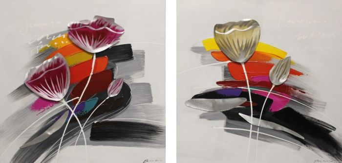 Abstracte Schilderijen: Abstracte Bloemen Schilderijen