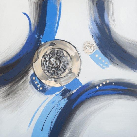 Abstracte Schilderijen: Abstracte Blauwe Lijnen Kunst