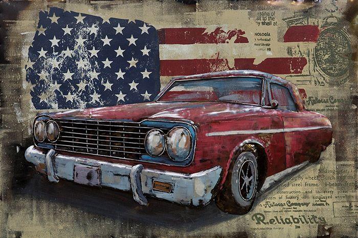 3D schilderijen: 3D Metaal Schilderij Rode Amerikaanse Auto 120x80