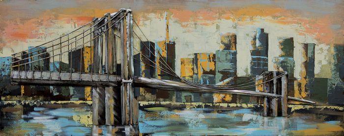 3D schilderijen: 3D Metaal Schilderij Brooklyn Bridge 150x60