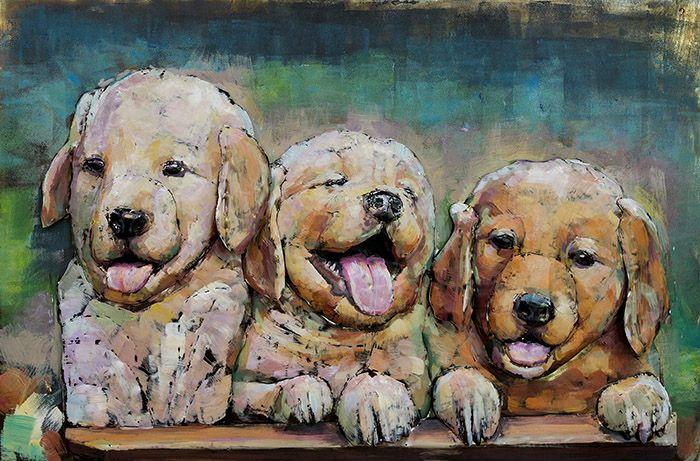 3D schilderijen: 3D Metaal Schilderij Drie Puppies 120x80