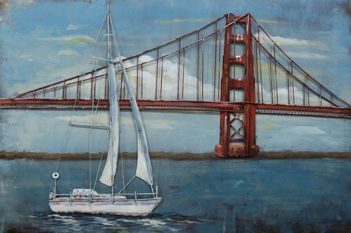 3D schilderijen: Metaal 3D Schilderij Golden Gate Bridge 120x80