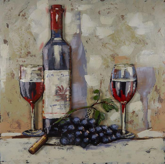 3D schilderijen: Schilderij Fles Rode Wijn En Twee Glazen 80x80