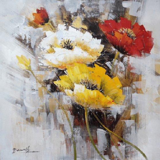 Bloemen Schilderijen: Kleurrijke Bloemen Boeket Schilderij