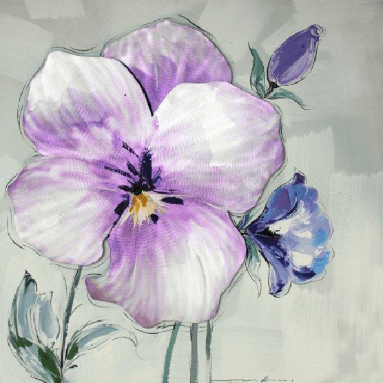 Bloemen Schilderijen: Lila Blauwe Bloemen Kunst