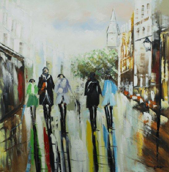 Gebouwen Schilderijen: Stad Markt Schilderij