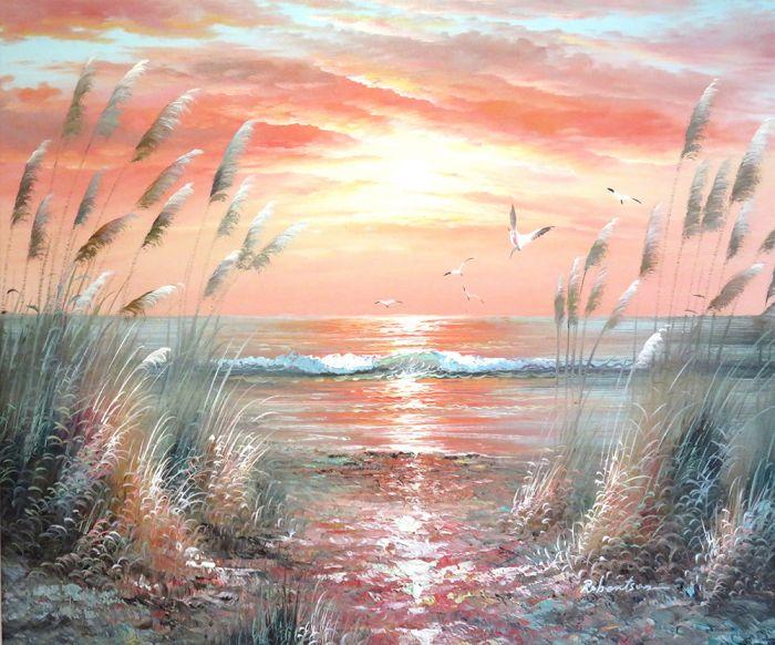 Landschappen Schilderijen: Rode Griekse Zee Schilderij