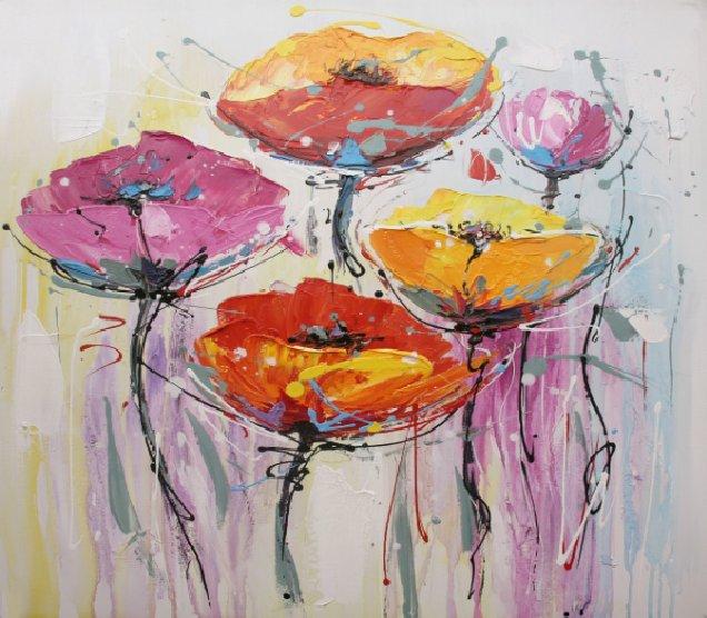 Bloemen Schilderijen: Kleurrijke Klaprozen Schilderij