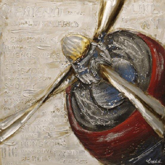 Rijtuigen Schilderij: Rode Vliegtuig Propeller  Schilderij
