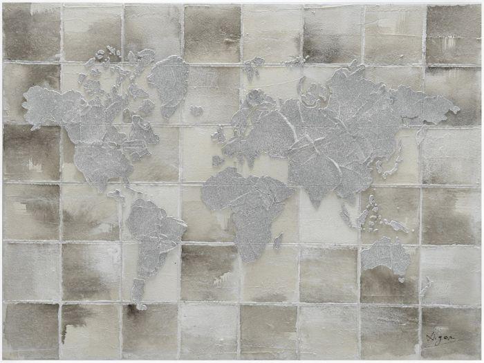 Landschappen Schilderijen: Grijze Wereldkaart Schilderij