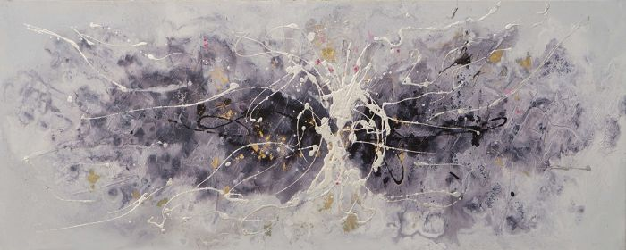 Abstracte Schilderijen: Olieverf schilderij paars wit zwart abstract